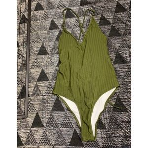Olive Green Ribbed One Piece Swimsuit